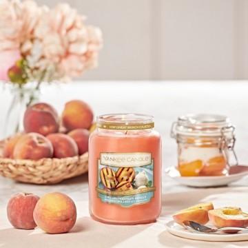 Карамелизированный коричневый сахар и золотистый мед 🍯 на сочных персиках на гриле... 🍑 Добавим сюда  ванильный пломбир? 🤤 . ‼️Большая свеча (110-150 часов горения) всего 1960₽ . Верхняя нота: Грейпфрут, Коричневый Сахар, Черная Смородина Средняя нота: Персик на гриле, Спелый Абрикос Базовая нота: Мед , Ванильный Пломбир